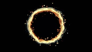 glowing ring with sparks 4K abstract background