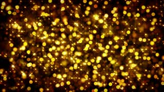 gold bokeh circles and stars loop