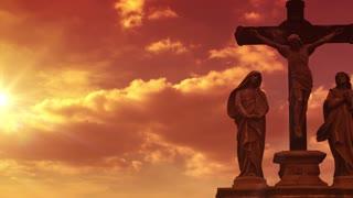 Golden Glow Crucifixion Statue
