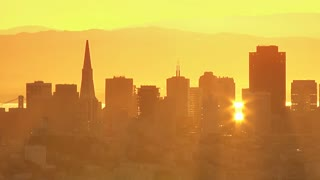 Golden San Francisco City Skyline