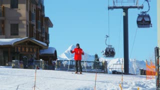 Gondolas and Skiers at Telluride