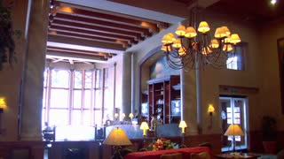 Grand Lobby At High-end Hotel With Fireplace