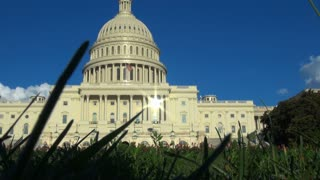Grassy View of Sun Beaming Off DC Capitol Building