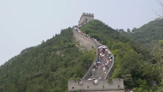 Great Wall of China Crowded with Tourists