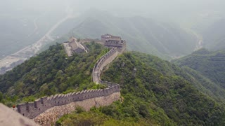 Great Wall of China High on Mountains