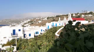 Greece white and blue houses with time lapse