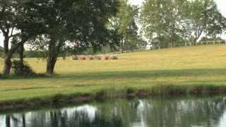 Green Countryside with Bales of Hay