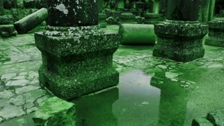 Green Puddle At Ancient Synagogue Ruins 2