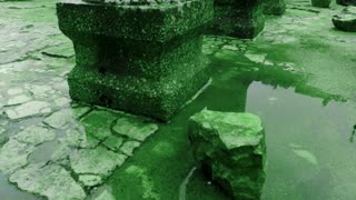 Green Puddle At Ancient Synagogue Ruins
