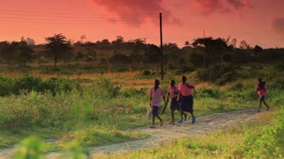 Group of Kids Running to School as Sun Rises