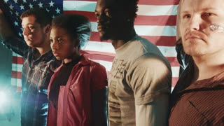 Group of mixed race American patriotic peoples with american flag in their hands placed on the back, looking straight