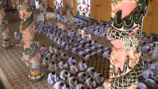Group Praying In Vietnam Temple