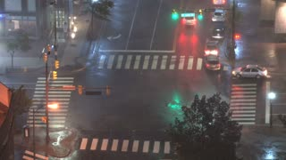 Gusting Winds WIth Rain In City  Intersection