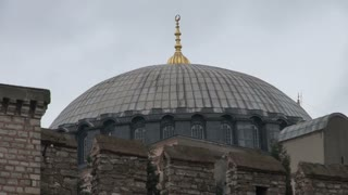 Hagia Sophia Dome Over Ancient Wall