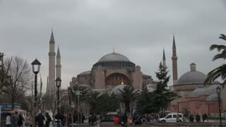 Hagia Sophia Mosque Above Crowded Street