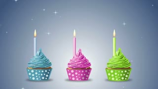 Happy birthday with cupcakes and candles on a blue background. 4K Ultra High Definition motion
