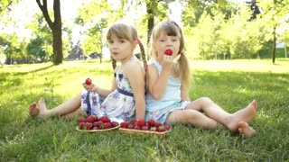 Happy girls eating strawberries. Sitting on the grass. Dolly HD