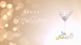 Happy New Year Martini Celebration