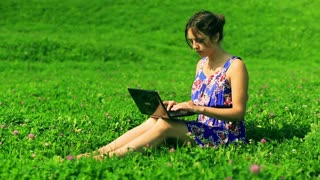 Happy woman sitting on the meadow and typing on laptop
