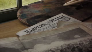 Harpe's Weekly laid on table, Civil War era