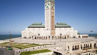Hassan II Mosque, the third largest mosque in the world, Casablanca, Morocco, North Africa, T/Lapse