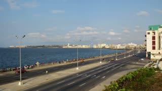 Havana Cuba Malecón Skyline Timelapse. The famous Malecón, Avenida de Maceo, and Havana, Cuba skyline. Time lapse shot.