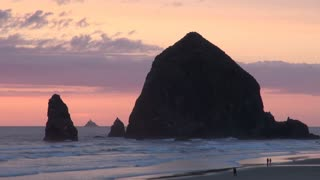 Haystack Rock at Sunset on Cannon Beach