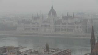 Haze Covered Cathedral In Europe