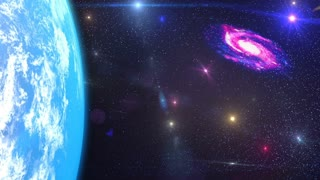 HD Loopable Background with nice spiral galaxy and earth