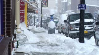 Heavy Snow Falling On Main Street In Park City Utah
