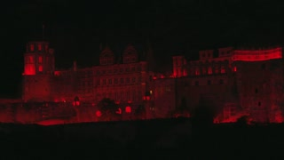 Heidelberg Castle at Night Illuminated in Red
