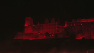 Heidelberg Castle Illuminated in Glowing Red