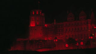 Heidelberg Castle in Glowing Red Light