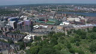 Helicopter Aerial Over Boston, Massachusetts With Fenway Park