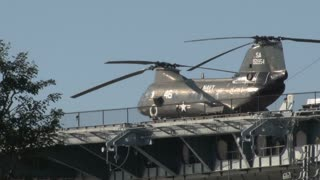 Helicopter on Aircraft Carrier