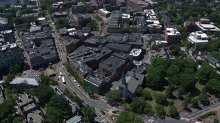 Helicopter Shot Over Harvard University, Boston, Massachusetts
