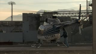 Helicopter Warms Up Takeoff
