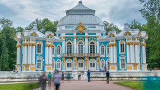 Hermitage pavilion timelapse in Catherine park in Tsarskoe Selo near Saint Petersburg, Russia. Cloudy sky