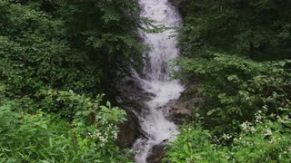 Hidden Waterfall Covered By Lush Green Forest, Blue Ridge Mountains