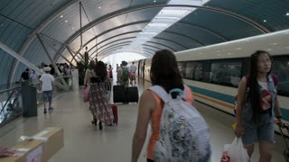 High Speed Train Arrival at Platform in China