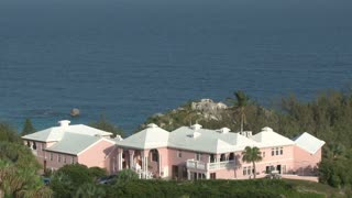 High Up View of Giant Pink Mansion in Bermuda