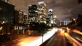 Highway By Downtown LA Timelapse