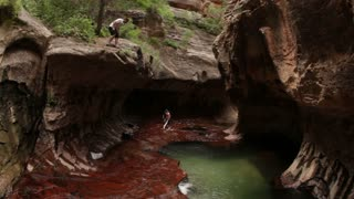 Hiker Jumps Into Deep Gorge Pool