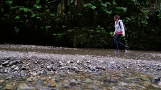 Hiker Walking Along Creek in Fern Canyon