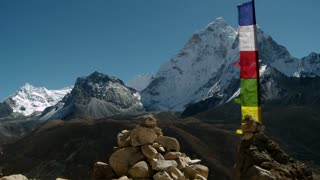 Himalayan Mountains with Waving Flags