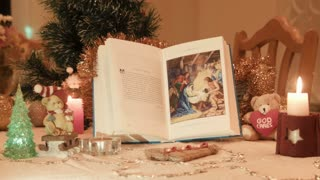 History of Christmas Children's Bible with holiday decorations