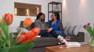 Homosexual couple, gay people, young lesbian women, same sex marriage relationship between pretty girls. Woman showing love, affection, intimacy to partner at home. Multi-ethnic lovers in living room
