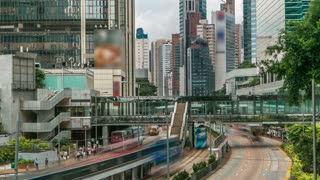Hong Kong car and tram traffic timelapse in Central District of Hong Kong. Skyscrapers, footbridge, stunning day view from bridge and skyline for Hong Kong. 4K