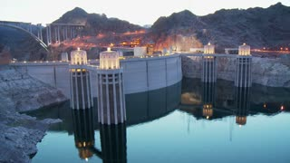 Hoover Dam Lights Sunset Timelapse