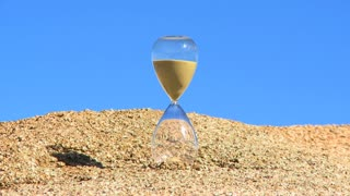 Hour Glass Timlapse Blue Sky Background